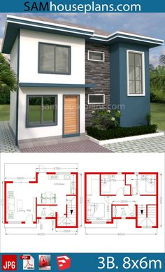 House plans with 3 bedrooms - sam house plans home design plans, dream home Modern House Floor Plans, Duplex House Plans, Home Design Floor Plans, Small House Plans, Simple House Design, Tiny House Design, Modern House Design, 2 Storey House Design, Casas The Sims 4