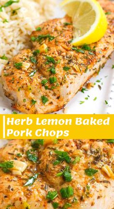Easy Lemon Baked Pork Chops - - These Easy Herb and Lemon Pork Chops will become a regular on your family's menu. Tender and absolutely delicious! 271 calories and 4 Weight Watchers Freestyle SP. Oven Pork Chops, Easy Baked Pork Chops, Juicy Pork Chops, Boneless Porkchop Recipes, Lemon Pepper Pork Chops, Healthy Pork Chops, Pork Chop Dinner, Pork Chop Meals, Eating Clean