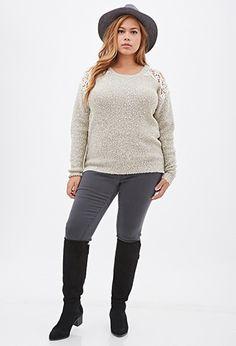 Plus Size Metallic Crochet Sweater
