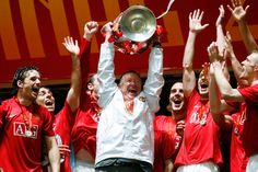 Sir Alex Ferguson lifts the Champions League trophy after United overcame Chelsea on penalties in the 2008 final in Moscow