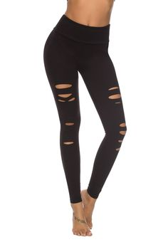 DIBAOLONG Womens High Waist Yoga Pants Cutout Ripped Tummy Control Workout Running Yoga Skinny Leggings New Post has been published on. Best Yoga Leggings, Ripped Leggings, Lycra Leggings, Tight Leggings, Workout Leggings, Workout Pants, Black Leggings, Leggings Store, Yoga Pants Outfit