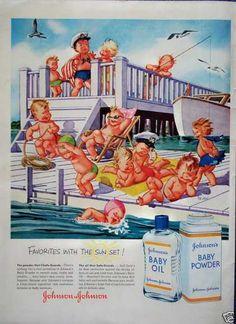 Johnsons Baby Oil Babies Boat Dock Swim Fishing Nickel Cove - soon Retro Advertising, Retro Ads, Vintage Advertisements, Creative Advertising, Vintage Ephemera, Vintage Ads, Vintage Posters, Funny Vintage, Vintage Prints