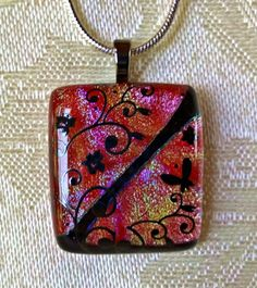 Petite Floral Fused Glass Necklace by HummingbirdArtGlass
