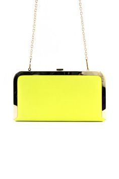 GOLD TRIM CLUTCH - Yellow | Shop this at www.hauteandrebellious.com