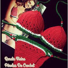 Tops A Crochet, Beach Crochet, Crochet Skirts, Crochet Blouse, Diy Crochet, Crochet Clothes, Watermelon Outfit, Bikinis Crochet, Crochet Bathing Suits