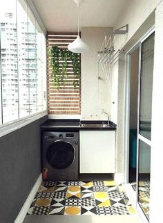 Laundry Room Ideas: An Extra Function for Your Balcony - Unique Balcony Garden Decoration and Easy DIY Ideas Kitchen Room Design, Home Room Design, Home Interior Design, House Design, Outdoor Laundry Rooms, Tiny Laundry Rooms, Small Balcony Decor, Balcony Design, Laundry Room Inspiration