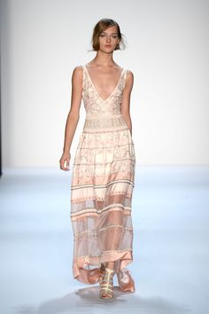 Beauitiful stripes at Badgley Mischka's NYFW show