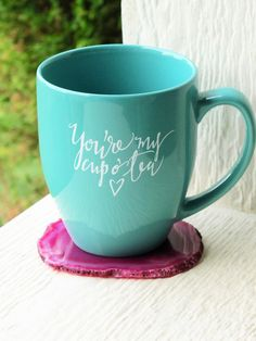You're My Cup O' Tea Hand - Lettered Teal Mug by AleahShop.   Is there someone in your life who you really enjoy spending time with? This mug is a perfect gift to give to friends, family, or loved ones when wanting to share how special these are to you. Both calming and cute, this large bistro mug is excellent for the tea-lover in your life.   If you are in love with this mug, but feel funny buying it for yourself, give the special people in your life a friendly nudge/hint to visit Aleah…