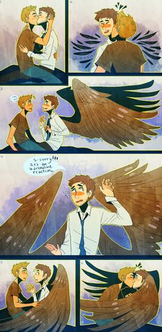 I accept this as a destiel headcannon like,when they kiss,Castiel's wings came out as a pleasure/adrenaline reaccion (this is the cutest thing I've seen in my whole day) Dean Y Cas, Dean And Castiel, Destiel Fanart, Supernatural Destiel, Yuri, All Meme, Fandoms, Superwholock, Anime Guys