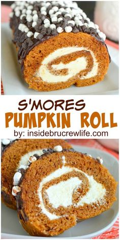 This fall favorite pumpkin roll gets a fun s'mores twist with chocolate and marshmallow.