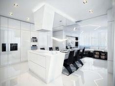 futuristic kitchen, modern home, minimalistic, white room, future home, modern furniture, futuristic interior by FuturisticNews.com