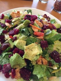 Moroccan grilled chicken salad with dates, peppers, chopped eggs, roasted butternut squash, avocado, beets and  almonds and Champagne vinegarette dressing  at California Pizza Kitchen