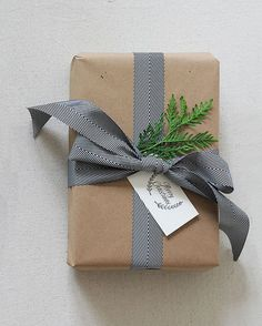 Brown Paper Christmas Gift Wrapping Idea: Black & White Ribbon + Cedar
