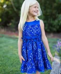 Look at this Trish Scully Child Blue Lace Tiered Dress - Toddler & Girls on #zulily today!