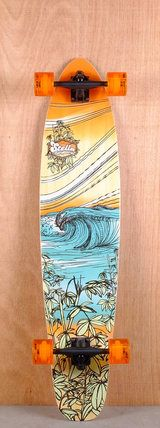 "Stella Prebuilt 42"" Bamboo Kicktail Breaker Longboard Complete Bottom"