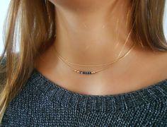 Ensembles de colliers en or — Collier en or avec perle goutte de Swarovski : Collier par annikabella