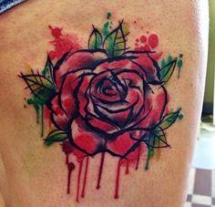 Watercolor:: Rose Tattoo Design