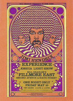 Postcard for Jimi Hendrix Experience at Fillmore East, NY. Art by Fantasy Unlimited, 1968