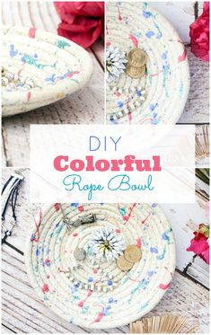 This diy colorful rope bowl is super easy to make plus you can customize the color too! What an easy afternoon project! Totally doing this!