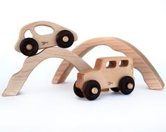 Wooden Toy Car And Truck With Bridges, Personalized Vehicle Kids Toy