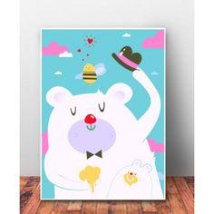 """Plakat dziecięcy """"Pan Miś na Różowej Chmurce"""". Kolorowy plakat z motywem uroczego Pana Misia. Idealny do pokoju dziecięcego."""