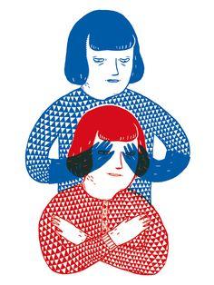 Bleu et rouge - Illustration réalisée par Amélie Fontaine - Numérotée et signée - 30 x 40 cm - Tirage limité à 30 ex. - En exclusivité chez L'illustre Boutique
