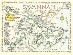 Savannah, Georgia Area 12x15. $25.00, via Etsy.