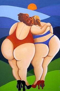 Jenny Klevering - DIKKE DAMES OP HAKKEN (schilderijen/acryl)  Full Figured Potential Bbw big curvy lady. Women fashion styles.. Beautiful