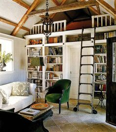 3. A library ladder leads to a snug partition for snoozing or reading. From Angie Helm Interiors (http://www.angiehelminteriors.com)