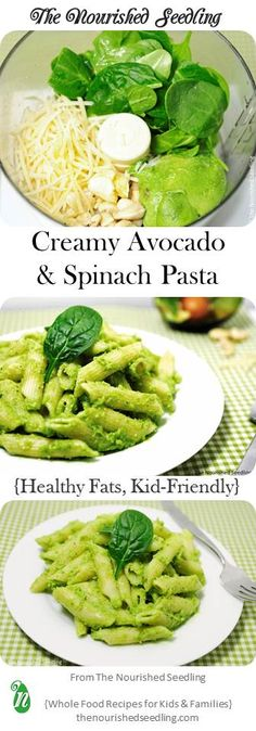 This pasta dish is a favorite for kids, getting the creaminess from potassium rich avocado, and folate and vitamin A from spinach.  Cashews  add extra richness, bringing a good dose of copper, manganese, magnesium and even some vitamin K.