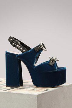 8dbb3d62eb58 Buy Miu Miu Velvet High Heel Sandals online on 24 Sèvres.
