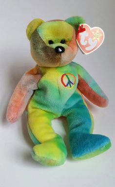 2b80a344360 Extremly Rare Deutschland 1996 PEACE BEAR 4053 with by LIVToyShop Peace Beanie  Baby