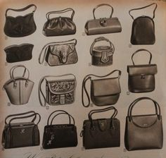 1955, 1950s leather handbags