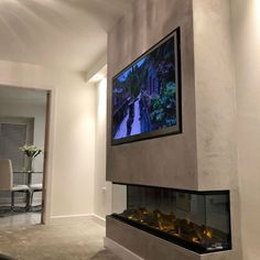 Fireplace Suites, Fireplace Tv Wall, Fake Fireplace, Fireplace Ideas, Polished Plaster, Plastering, Tv Walls, Plaster Walls, Wet Rooms