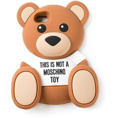 Moschino Teddy bear iPhone 5/5s case (1,325 MXN) ❤ liked on Polyvore featuring accessories, tech accessories, phones, phone cases, cases, brown and moschino