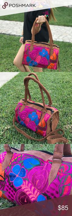 """New Mexican Embroidered Duffel Bag Handbag Floral Beautiful large duffel bag with lots of space for your essentials! Brown soft vegan suede leather, fully lined, zippered, adjustable and detachable strap. Floral embroidery mix magenta, hot pink, royal blue and orange with a hint of coral, super feminine! About L 15"""" x W 8"""" x H10""""  You will receive the exact same purse in pictures.  About L 15"""" x W 8"""" x H10"""" Cielito Lindo Bags Travel Bags"""