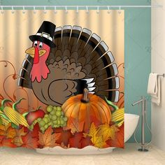 Thanksgiving Turkey Food Waterproof Shower Curtain , #SPONSORED, #Food, #Turkey, #Thanksgiving, #Curtain, #Shower #affiliate Turkey Food, Turkey Recipes, Cartoon Trees, Cheap Shower Curtains, Open Showers, Vintage Numbers, Halloween Moon, Curtain Material, Curtains For Sale