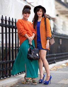 i would hate to be the third friend who didnt get the memo to wear blues and orange that day... but would love to raid their closets!!