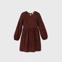 Women's Printed Long Sleeve Dress - A New Day™ Brown S : Target Eyelet Dress, Short Sleeve Dresses, Long Sleeve, Flare Skirt, Sleeve Styles, Dress Up, Dresses For Work, Sleeves, Target
