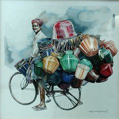 """Indian Watercolor Artist- """"Rajkumar Sthabathy"""" 1975 - Fine Art and You - Painting Art Village, Watercolor Artists, Watercolor Paintings, Watercolor Water, Abstract Watercolor, Colorful Drawings, Art Drawings, Composition Painting, India Art"""