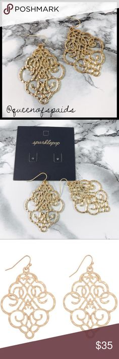 """Napoli Earrings Gold plated earrings in a matte finish with a hammered texture for a stunning artisanal look. Filigree earrings are a timeless must-have for any jewelry collection. These will not disappoint!Size Length: 2.2"""". Width: 1.5"""".  ♠️No Trades ♠️No Off Posh Transactions Jewelry Earrings"""