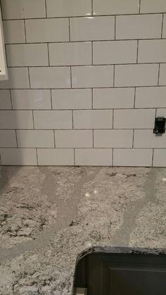 Kitchen progress. Large format subway Cambria Summerhill, Ikea Bodbyn