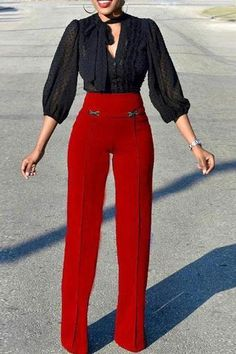 Elegant High-Waist Pure Colour Straight Pants – jollyluva overals outfit long long pants outfit white dress pants overall outfits long long sleeve outfits overall long dress pant adidas pants outfit long overalls outfit Fashion Pants, Look Fashion, Fall Fashion Outfits, Outfit Pantalon Rojo, Red High Waisted Pants, Red Pants Outfit, Overalls Outfit, Look Formal, Straight Trousers