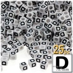 Alphabet Beads, Cube Opaque, 7mm, 25-pc, White, D