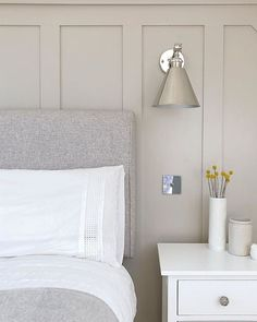 reads as an uplifting mid grey with a hint of magenta, but can become almost lilac in the cooler light of west facing… Bedroom Loft, Home Bedroom, Bedroom Wall, Master Bedroom, Bedroom Decor, Taupe Bedroom, Farrow And Ball Bedroom, Scandi Living, Bedroom Colors