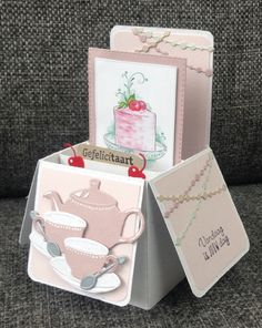Tea Party Crafts, Craft Party, Fun Fold Cards, Folded Cards, Tuxedo Card, Diy Exploding Box, Scrapbook Box, Marianne Design Cards, Pop Up Box Cards