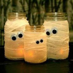 Mummy glow lights. Use an old jar, cover with medical gauze and stick on some googly eyes. Then pop in a tea light. Great idea for Halloween.