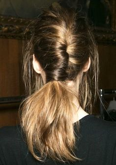 Instead of twisting your French braid up, let the ends fall into a ponytail. Cool, right?!