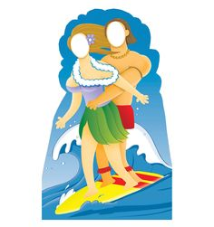 This surfer couple stand-in stands at a size of 6′ 2″. The man and woman are both riding on the same red surfboard, and they are good at it! There is a large blue wave behind them! The man has long flowing beach hair, as does the female in the cutout. They are wearing leis, also. The day is sunny and it looks like Hawaiian paradise. You can enjoy Hawaii, too, with this standin of the surfer couple. This standup is fun and exciting! Get your own cardboard standin today!