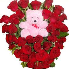 Send his Heart Shape arrangement of 40 roses and Cute Teddy Bear to loved ones now.....  to order visit @ http://myfloralkart.com/gurgaon/queen-of-heart.html — with Shreya Anand and 27 others.